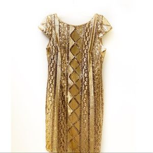 ADRIANNA PAPELL Gold Sequin Dress Size 10